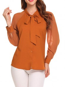 Yellow Single Breasted Bow Band Collar Long Sleeve Chiffon Blouse