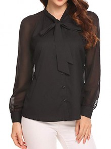 Black Single Breasted Bow Band Collar Long Sleeve Chiffon Blouse