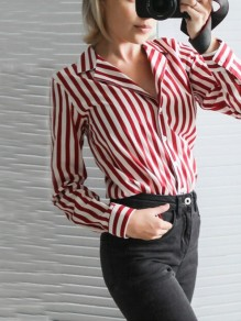 Red-White Striped Buttons Single Breasted Turndown Collar Long Sleeve Fashion Blouse