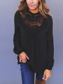 Black Patchwork Lace Cut Out Grenadine Round Neck Long Sleeve Elegant Blouse