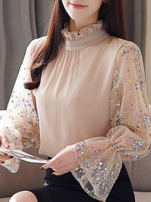 b2ce360ef8ecb5 Apricot Patchwork Ruffle Sequin Band Collar Elegant Blouse