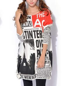 White Newspaper Letters Pattern Long Pullover Sweater Streetwear T-Shirt Mini Dress