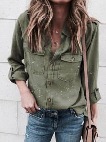 Army Green Patchwork Pockets Single Breasted Buttons V-neck Fashion Causal Blouse
