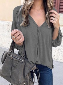 Dark Grey Patchwork Solid Puff Sleeve V-Neck Long Sleeve Casual Fashion Blouses