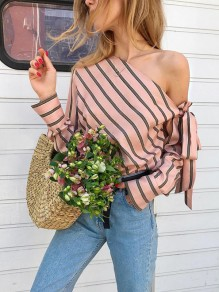 Pink Striped Ruffle Sashes Bow Fashion One Shoulder Long Sleeve Blouse