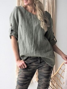 Light Army Green Patchwork Long Sleeve Fashion Blouse
