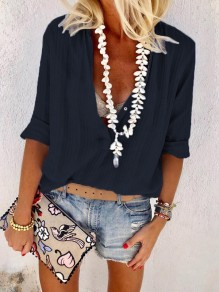 Navy Blue Single Breasted V-neck Long Sleeve Fashion Blouse