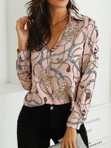Pink Floral Single Breasted Turndown Collar Long Sleeve Blouse