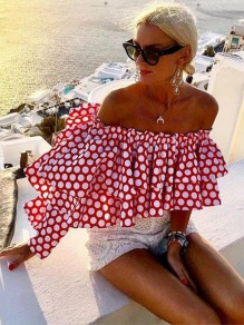 Red-White Polka Dot Ruffle Off Shoulder Backless Bohemian Blouse