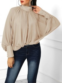 Khaki Pleated Buttons Band Collar Dolman Sleeve Blouse