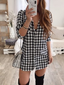 Black-White Plaid Pockets Single Breasted Turndown Collar Long Sleeve Fashion Blouse
