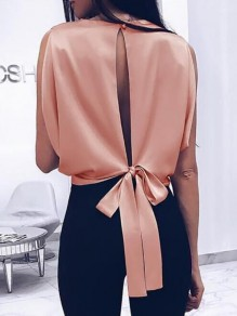 Nacarat Cut Out Backless Tie Back Bow Round Neck Sleeveless Fashion Blouse