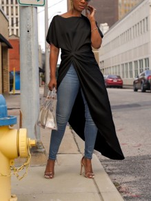 Black Off Shoulder Pleated High-Low Swallowtail Turndown Collar Long Sleeve Party Blouse
