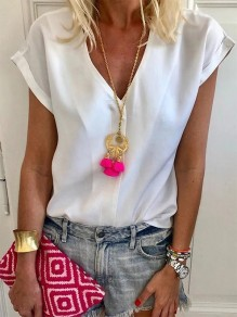White Patchwork V-neck Short Sleeve Fashion Blouse