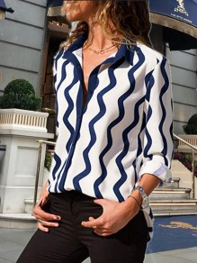 Blue-White Floral Print Single Breasted Turndown Collar Long Sleeve Fashion Blouse
