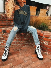 Army Green Monogram Rivet Asymmetric Shoulder Long Sleeve Fashion Sweatshirt