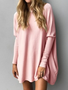 Pink Solid Fashion Round Neck Long Sleeve Casual Mini Dress