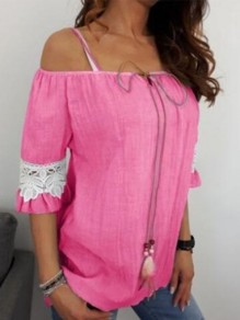 Pink Patchwork Lace Drawstring Lace-up Off Shoulder Short Sleeve Going out Blouse
