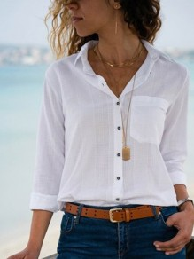 White Pockets Single Breasted Turndown Collar V-neck Ladies Fashion Blouses