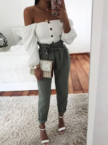 White Off Shoulder Single Breasted Lantern Long Sleeve Sweet Casual Shirt Blouse