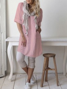 Pink Pockets Round Neck Short Sleeve Fashion Linen Cotton Blouse