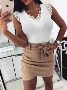 White Patchwork Lace Cut Out Tie Back V-neck Sleeveless Elegant Blouse