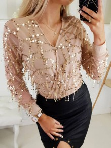 Beige Patchwork Sequin V-neck Long Sleeve Chiffon Blouse