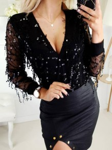 Black Patchwork Sequin V-neck Long Sleeve Chiffon Blouse