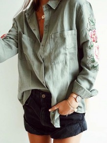 Army Green Embroidery Pockets Single Breasted Long Sleeve Fashion Blouse