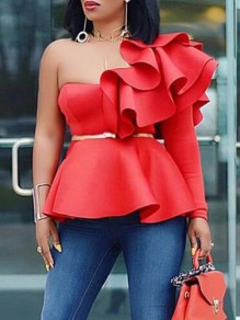 Red Irregular Ruffle Asymmetric Shoulder One-Shoulder Peplum Elegant Party Blouse