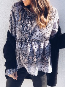 Grey Floral Print Ruffle Round Neck Long Sleeve Fashion Blouse