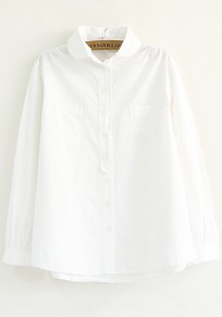 White Plain Pockets Loose Blouse