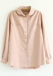 Pink Plain Pockets Loose Blouse