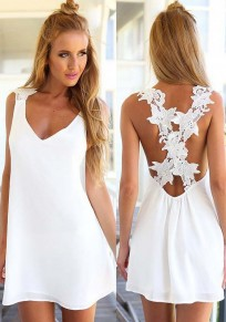 White Patchwork Lace Backless Bandage Floral Crusaders In Pool Back Chiffon Dress