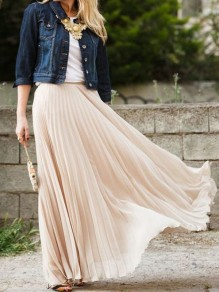 Nude Plain Pleated Ankle Floor Length Straight Fashion Polyester Flowy Maxi Skirt