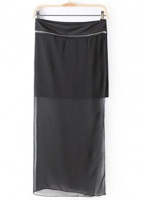 Black Plain Chiffon Skirt