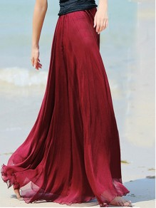 Wine Red Plain Draped Wavy Edge Pleated Elastic Waist Floor Length Bohemian Chiffon Flowy Maxi Skirt