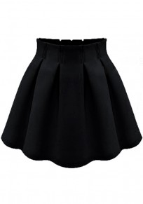 Black Plain Pleated High Waisted Skirt