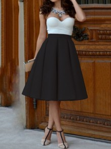 Black Plain Pleated Vintage High Waisted Knee Length Skirt