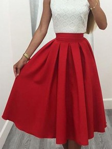 Red Plain Draped Elastic Waist Mid-rise Sweet Skirt