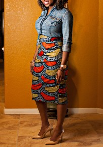 Multicolor Floral Trible African Print High Waisted Fashion Pencil Midi Skirt