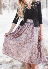 Women New Fashion Purple Plain Sequin Decorated High Waisted Below Knee Skirt