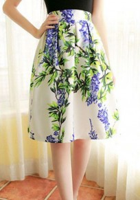 White Flowers Pattern A Type Casual Polyester Skirt