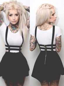 Black Plain High Waisted Zipper Skater Straps Casual Caged Suspender Braces Skirt