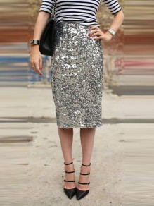 Silver Plain Sequin High Waisted Slim Fashion Midi Skirt