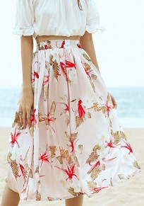 Multicolor Floral Pleated Knee Length Casual Chiffon Skirt