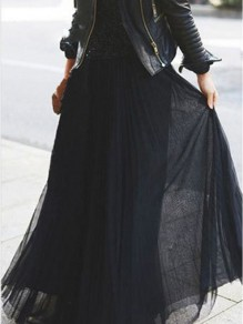 Black Plain Pleated Zipper Mid-rise Chiffon Loose Cute Maxi Skirt