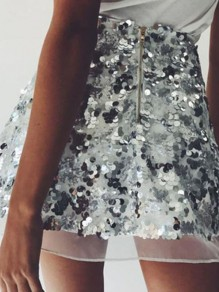 Silver Plain Glitter Sparkly Sequin Grenadine High Waisted Cute Skater Mini Skirt