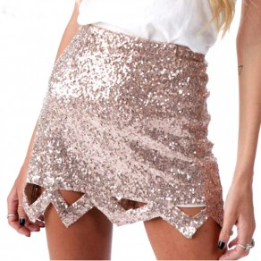 Golden Sparkly Sequin Wavy Edge Cut Out High Waisted Sexy Mini Skirt