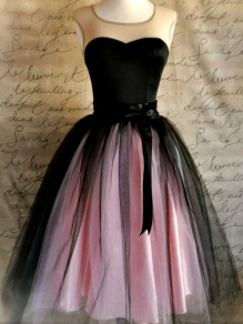 Pink Grenadine Tulle Puffy High Waisted Knee Length Cute Sweet Bridesmaid Prom Homecoming Party Tutu Skirt
